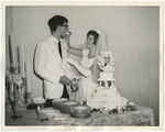A bride feeding her groom wedding cake by Lonnie W. Fleming Sr.