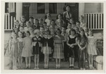 Schoolchildren and teacher on steps by Horry County Historical Society